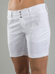 New Belted Golf Short - Collegiate Length  (White & Black)