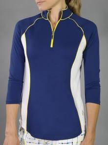 JoFit Limoncello 3/4 Sleeve Piped Mock Pullover