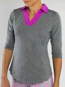 Jofit Sangria Scallop 3/4 Sleeve Polo