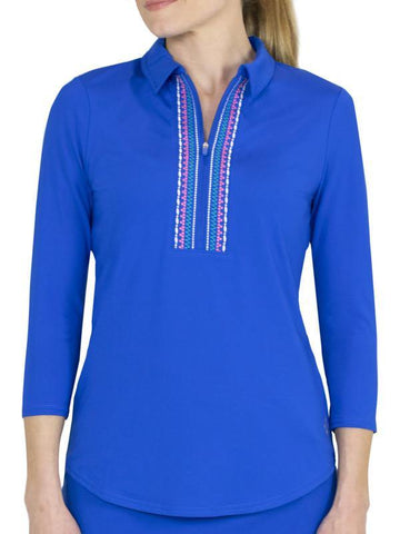 JoFit Stella 3/4 Sleeve Embroidered Polo