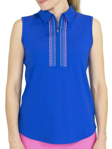 JoFit Stella Sleeveless Embroidered Polo