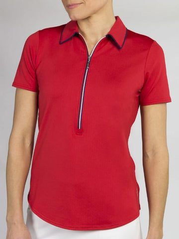 JoFit Red White & You Tipped Polo