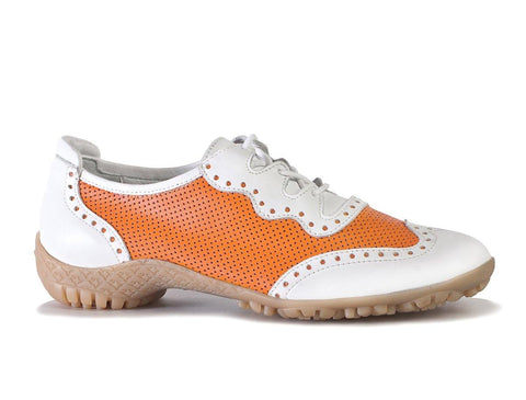 Walter Genuin Jamie White-Tangerine Golf Shoe