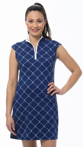 SanSoleil Knotical Navy SolStyle Cool Sleeveless Mock Neck Dress