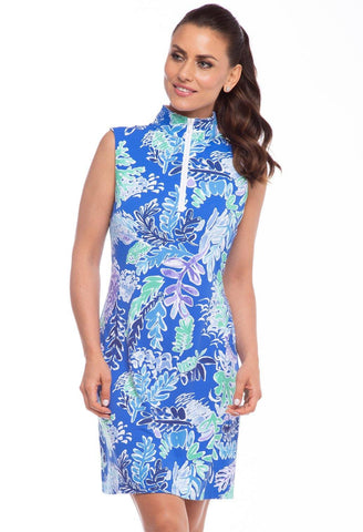 IBKUL Nessa Print Sleeveless Royal Mock Neck Dress