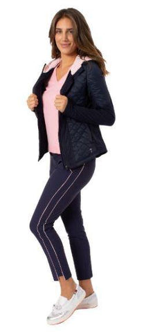 Golftini Navy with Light Pink Ankle Pant - Gals on and off the Green