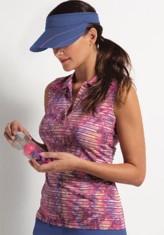 EP Pro A Place In The Sun Spray Dye Stripe Sleeveless Polo