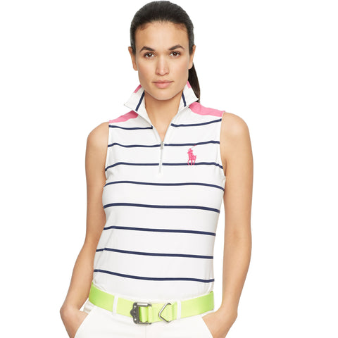 Ralph Lauren Striped Sleeveless Mock Neck