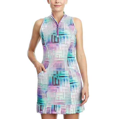 Tzu Tzu Shiloh Pixel Print Sleeveless Dress