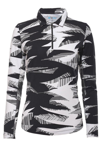 IBKUL Stormi Print Black and White Long Sleeve Polo