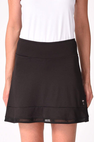 Golftini Top Golf Pull On Mesh Trim Ruffle Skort (Black)