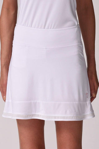 Golftini Top Golf Pull On Mesh Trim Ruffle Skort (White)