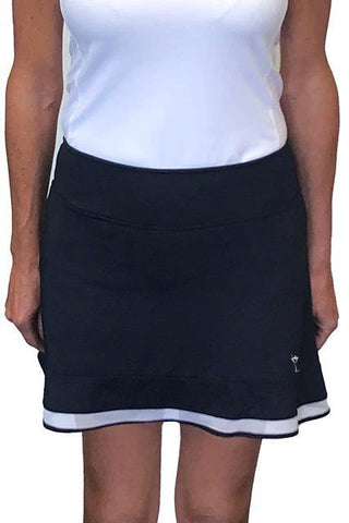 Golftini Top Golf Pull On Mesh Trim Ruffle Skort (Navy)