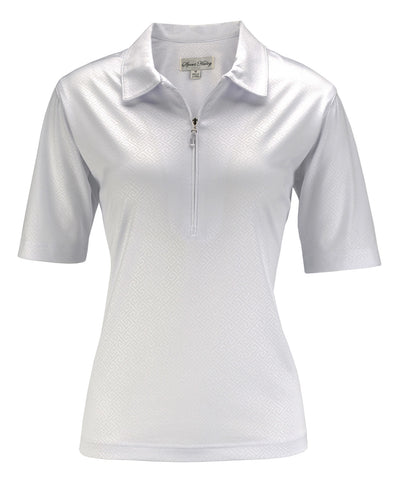 Sport Haley Elbow Sleeve Solid Embossed Jersey Polo