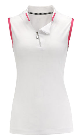 Sport Haley Get This Party Started Sleeveless Asymmetrical Zip Polo