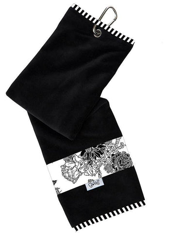 GloveIt Black & White Rose Sport Towel