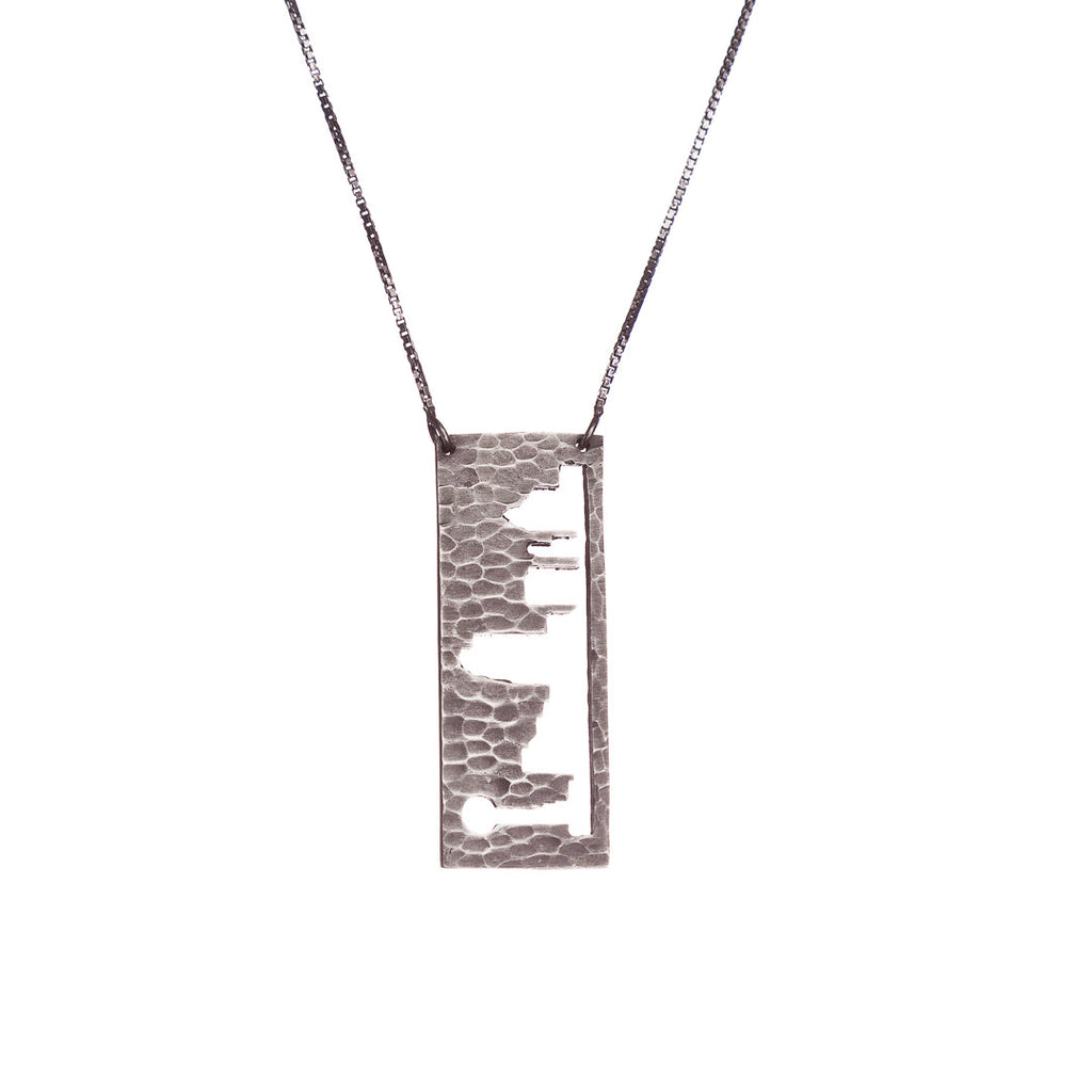 Dallas Silver pendant with rustic metal cutout, 36 inch chain