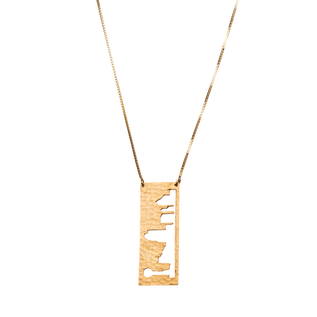 Dallas Gold pendant with rustic metal cutout, 36 inch chain