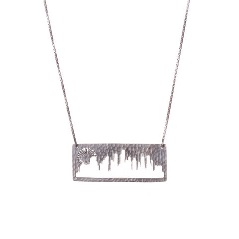 Chicago Silver Pendant with rustic metal cutout, 16 inch chain