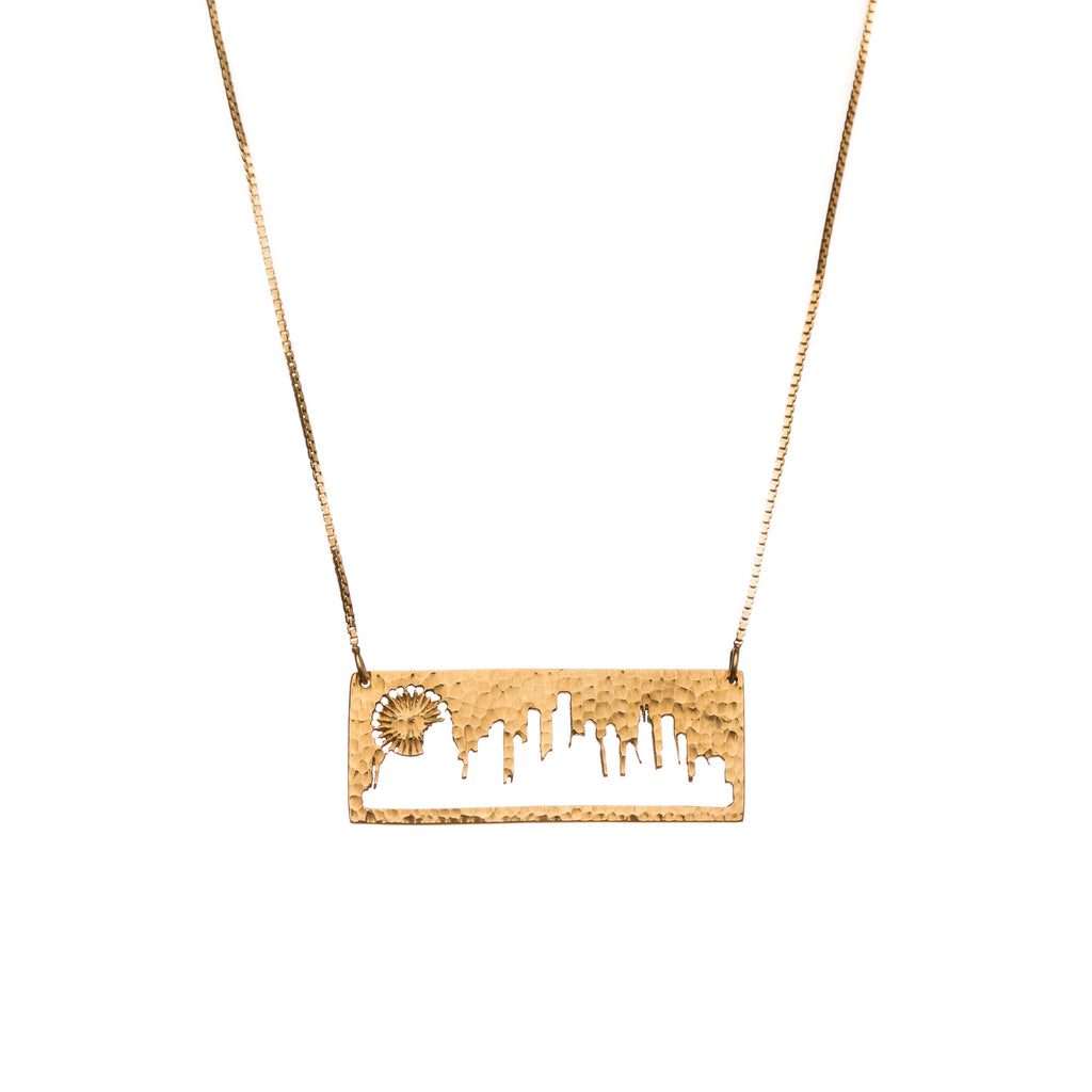 Chicago Gold Pendant with rustic metal cutout, 16 inch chain