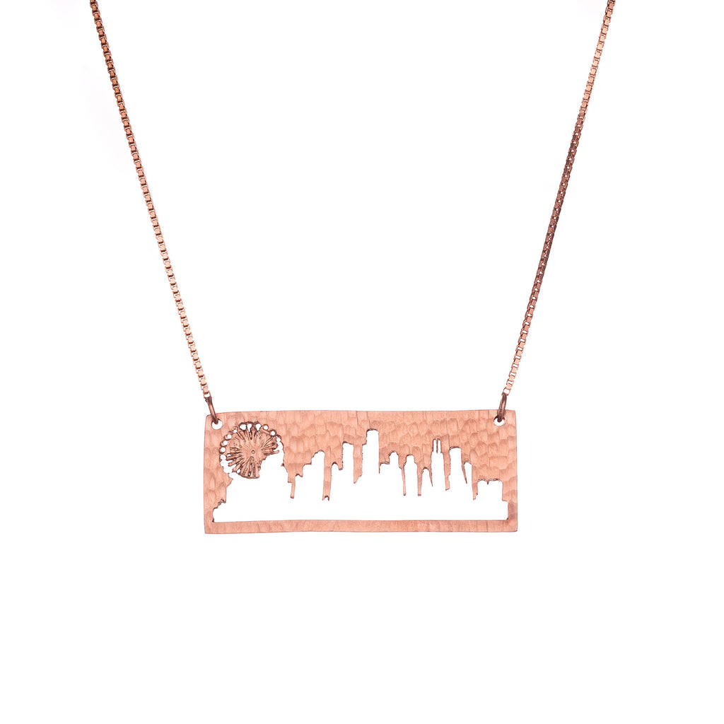 Chicago Rose Gold Pendant with rustic metal cutout, 16 inch chain