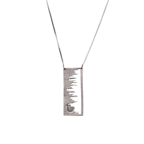 Chicago Silver Pendant with rustic metal cutout, 36 inch chain