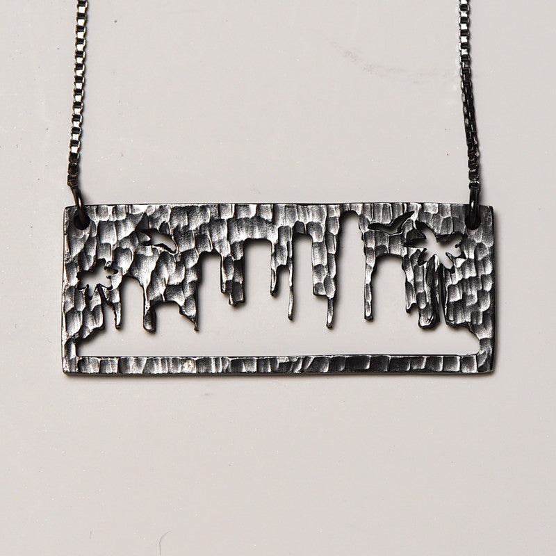 Los Angeles Silver Pendant with rustic metal cutout, 16 inch chain