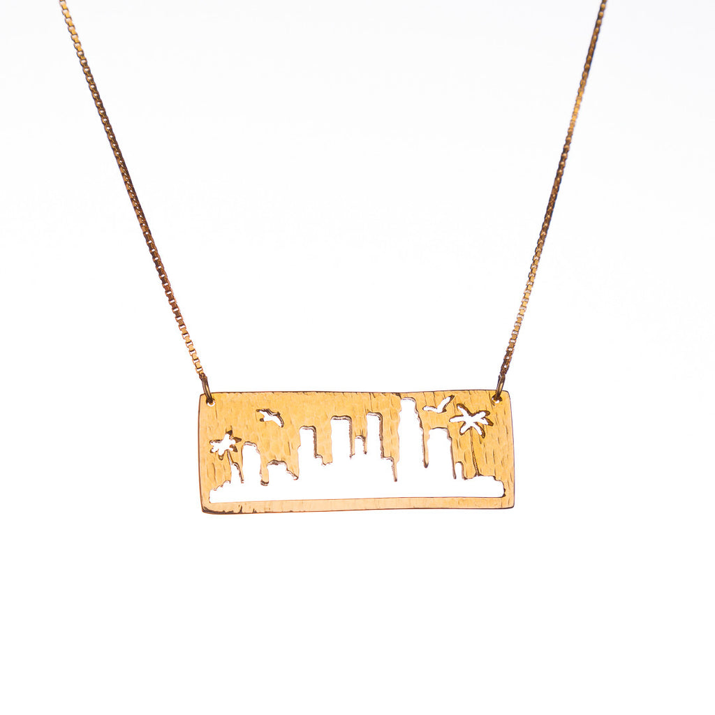 Los Angeles Gold Pendant with rustic metal cutout, 16 inch chain