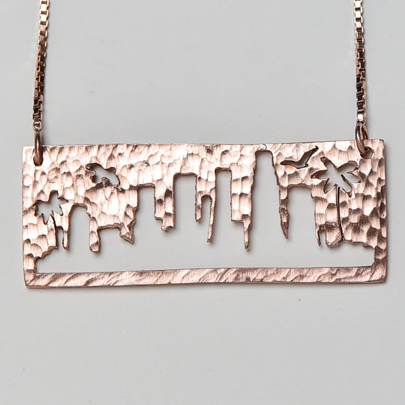 Los Angeles Rose Gold Pendant with rustic metal cutout, 16 inch chain