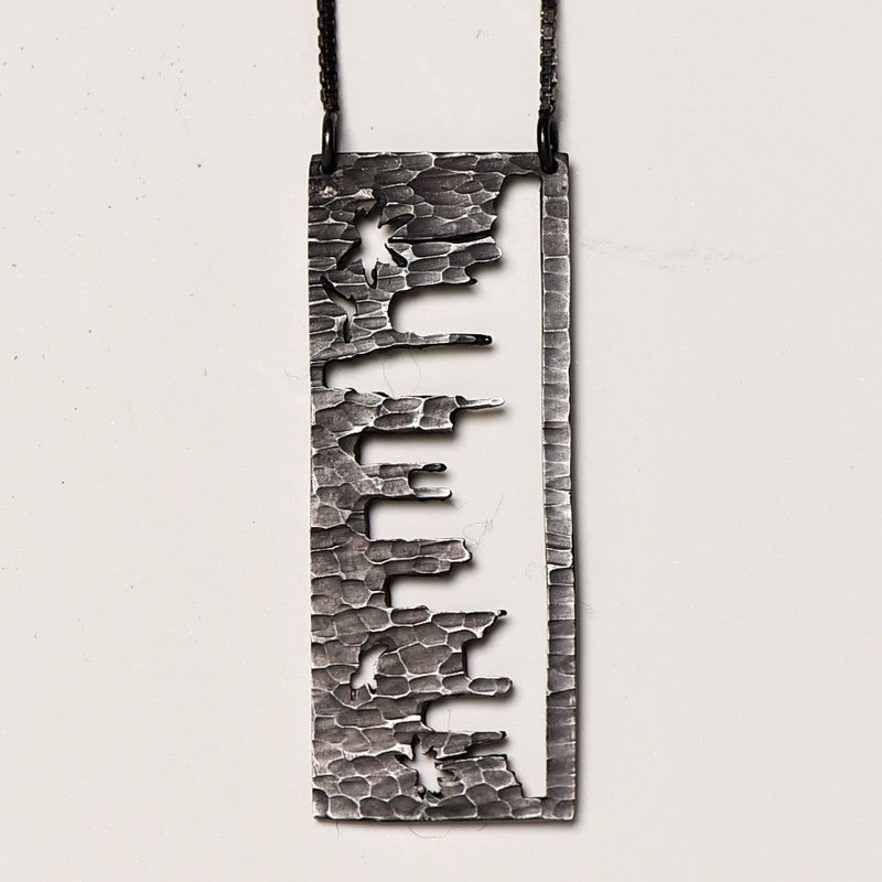 Los Angeles Silver Pendant with rustic metal cutout, 36 inch chain
