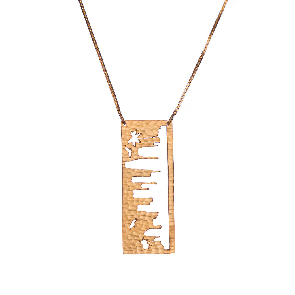 Los Angeles Gold Pendant with rustic metal cutout, 36 inch chain