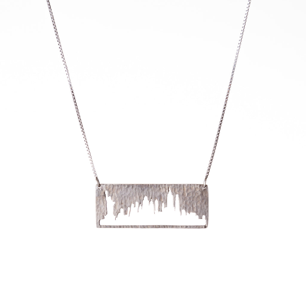 New York City Silver Pendant with rustic metal cutout, 16 inch chain