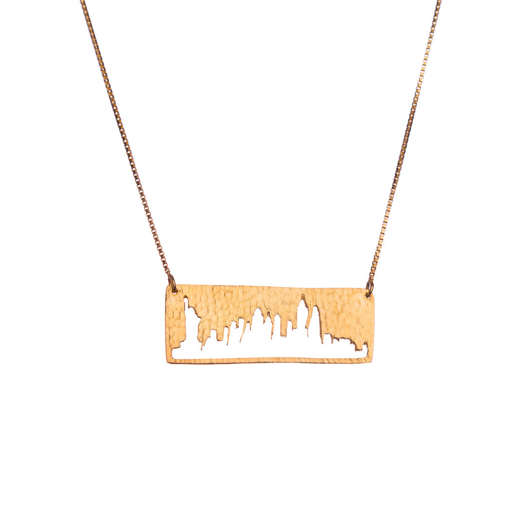 New York City Gold Pendant with rustic metal cutout, 16 inch chain