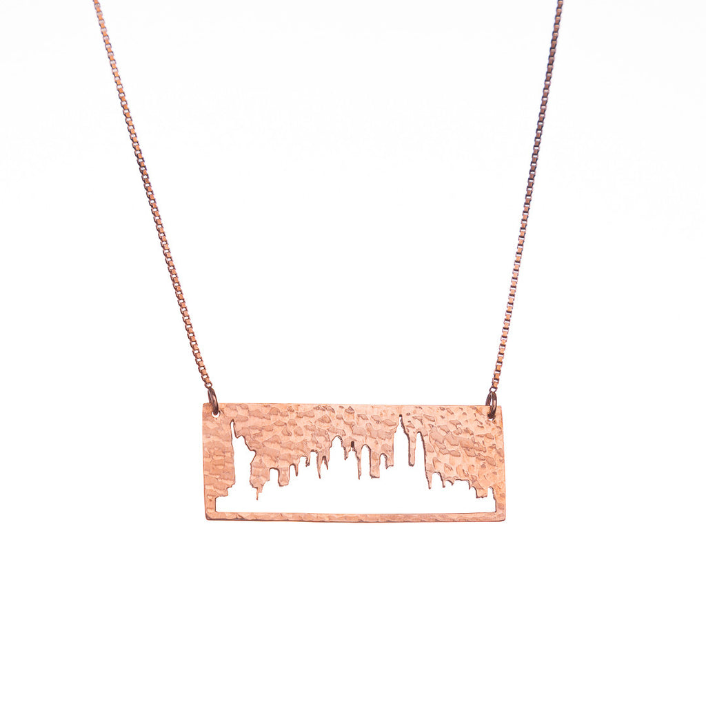 New York City Rose Gold Pendant with rustic metal cutout, 16 inch chain