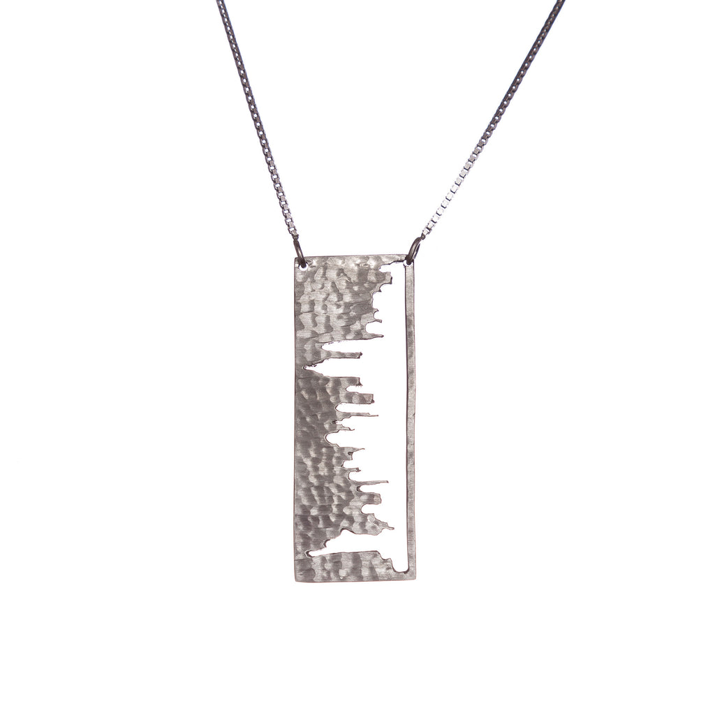 New York City Silver Pendant with rustic metal cutout, 36 inch chain