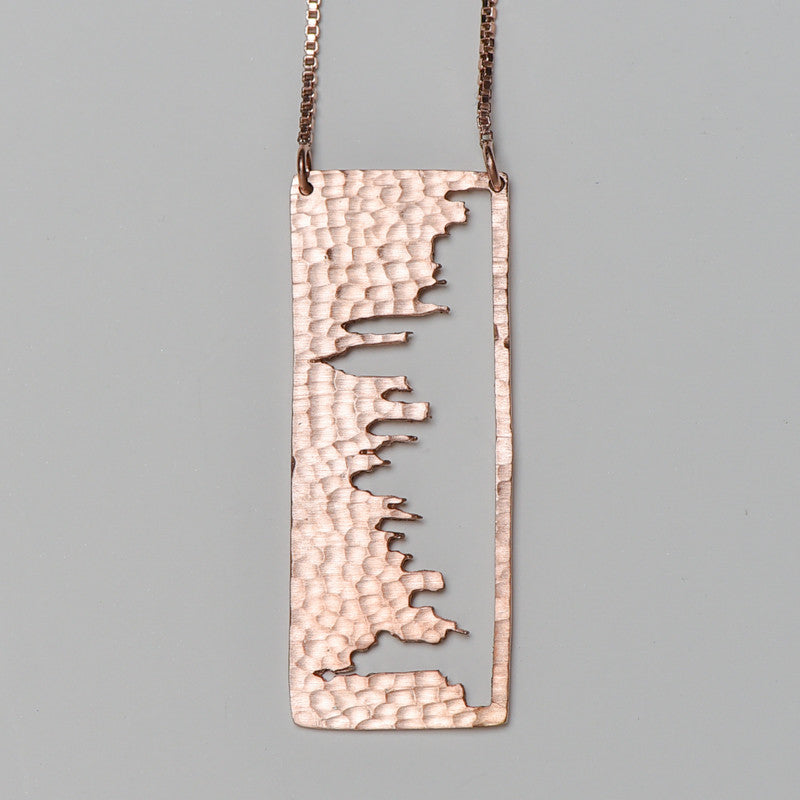 New York City Rose Gold Pendant with rustic metal cutout, 36 inch chain