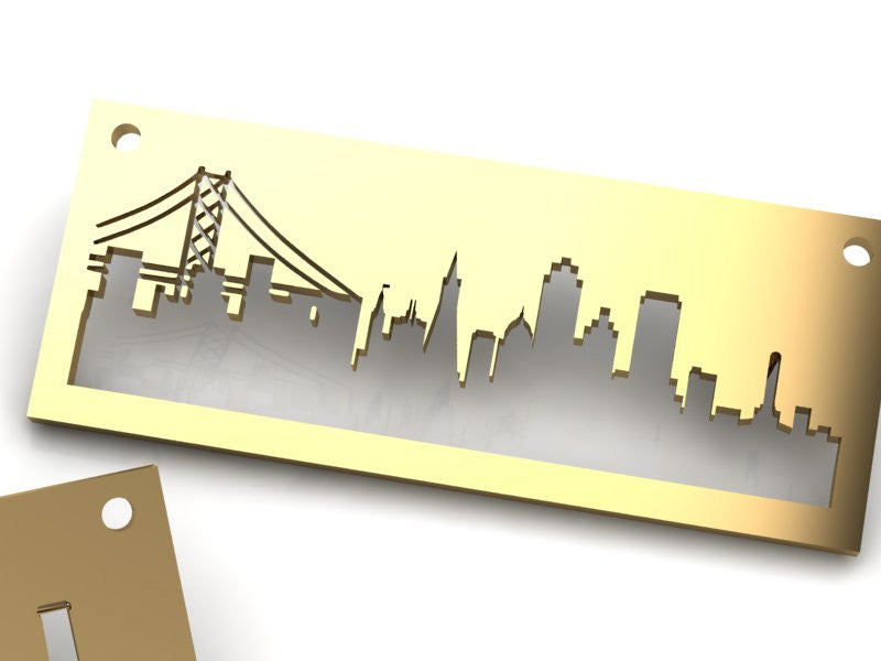 San Francisco Gold pendant with rustic metal cutout, 36 inch chain