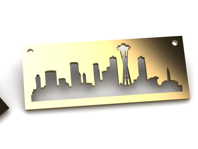 Seattle Gold pendant with rustic metal cutout, 36 inch chain