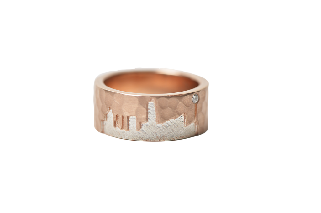 Small Rose Gold band with silver city outline with stone
