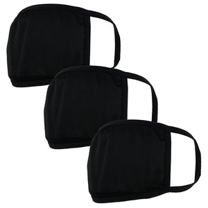 Black Double Layer Adult's Face Mask - 3 Pcs