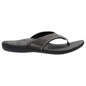 Side view of Spenco Men's Yumi plus Black Canvas Sandal