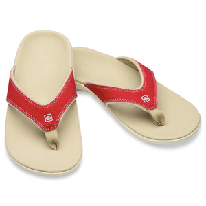 A pair of Spenco Women's Yumi plus Nubuck true red color Sandal