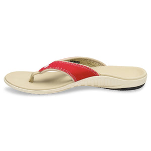 Side view of Spenco Women's Yumi plus Nubuck true red color Sandal