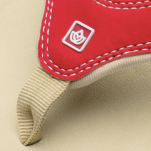 Close up view of Spenco Women's Yumi plus Nubuck true red color Sandal