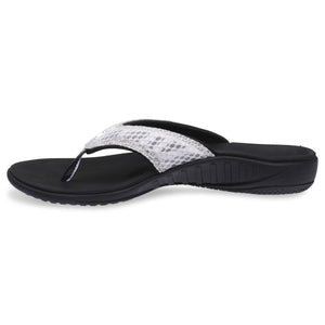 Side view of Spenco Women's yumi plus Breeze Black/Silver Sandal