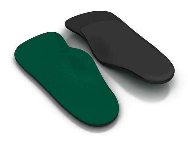 Top and bottom view of the Spenco RX three quarter arch cushion orthotic insoles