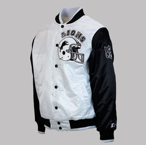"Men's Detroit Lions ""Kicksmas"" Starter Jacket - White/Black/Patent"