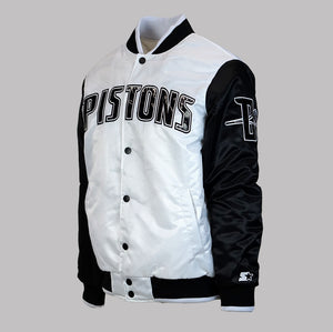 "Men's Detroit Pistons ""Kicksmas"" Starter Jacket - White/Black/Patent"