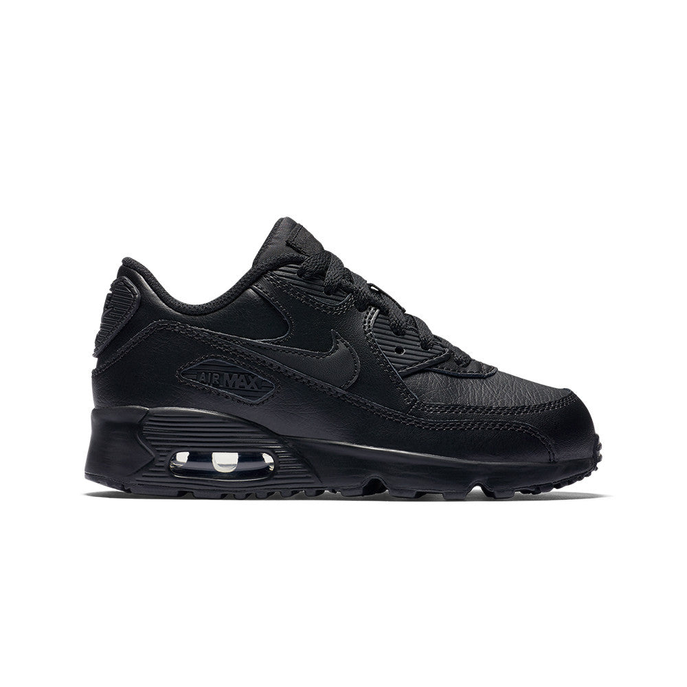 Boys' Nike Air Max 90 Leather (GS) Shoe - Black