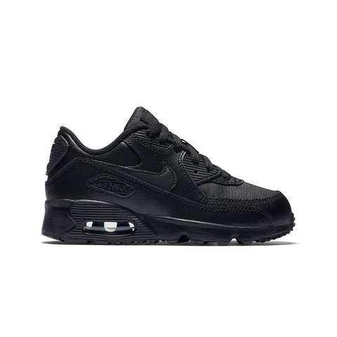 Boy's Nike Air Max 90 Leather (GS) Shoe- Black
